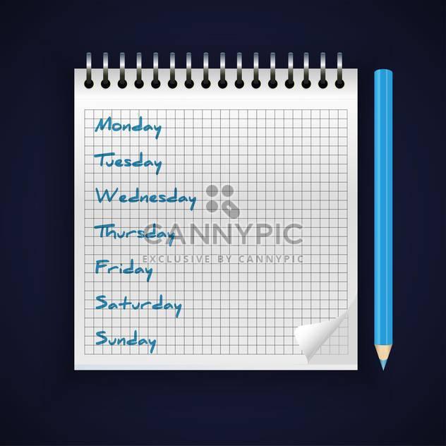 Vektor-Notebook mit handschriftlichen Wochentagen - Kostenloses vector #129005