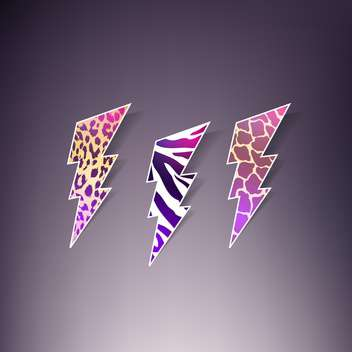set of vector thunders with animal skin ornament - vector gratuit(e) #129055