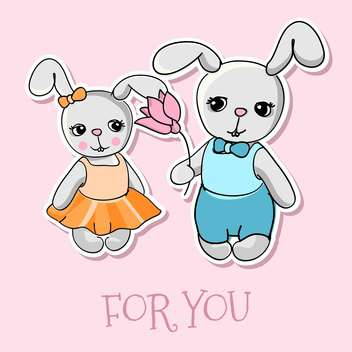 cute bunnies vector greeting card - vector gratuit #129075