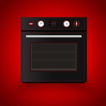 Kitchen vector oven on red background - бесплатный vector #129175