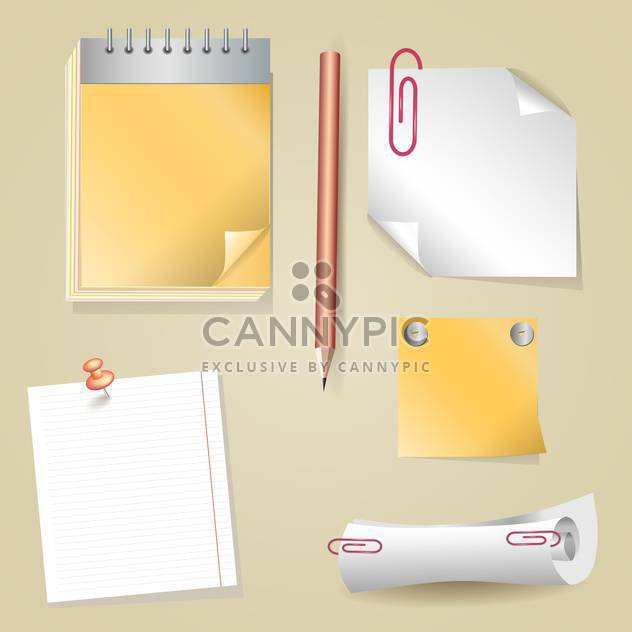 Illustration of pencil, sticker, scroll, notepad - Free vector #129245