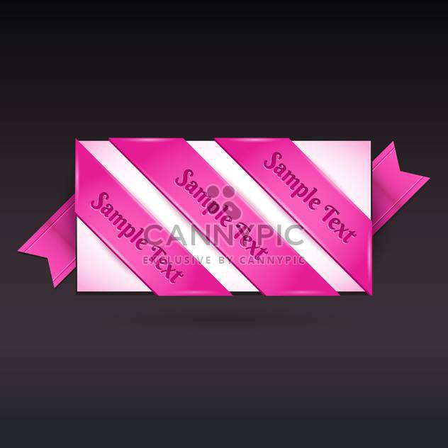 Vector greeting card with pink ribbon on black background - Free vector #129295