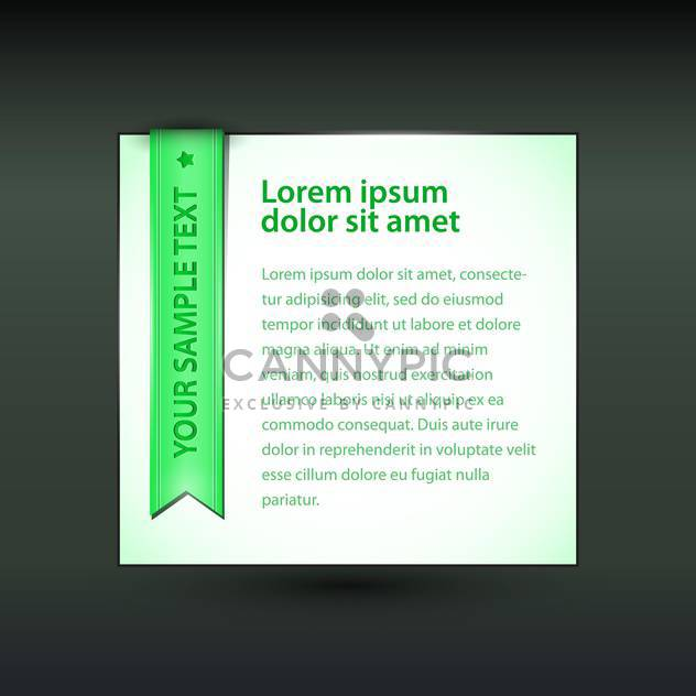 Vector banner with green ribbon on black background - Free vector #129315