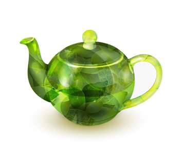 Vector illustration of glass teapot with green tea isolated on white background - vector gratuit #129335