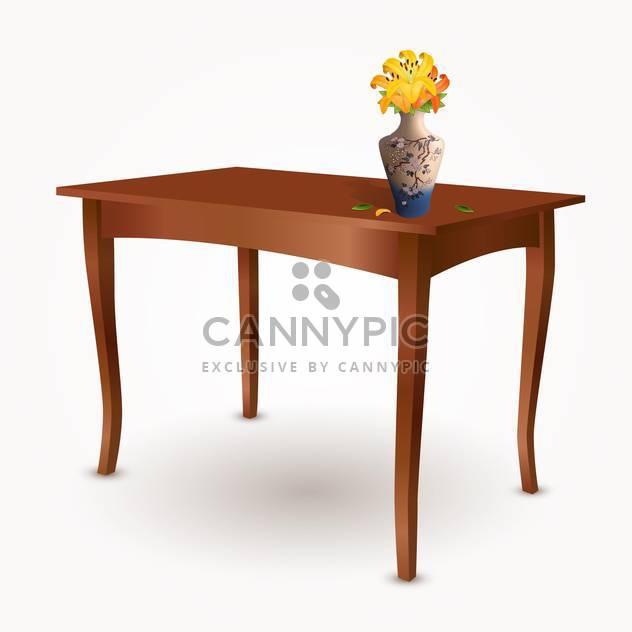 Veclor Abbildung der Holztisch mit Vase mit Blumen - Kostenloses vector #129365