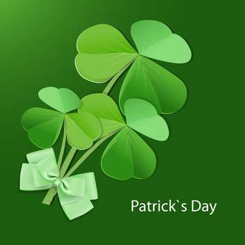 Vector green St Patricks day greeting card with bow and clover leaves - бесплатный vector #129385
