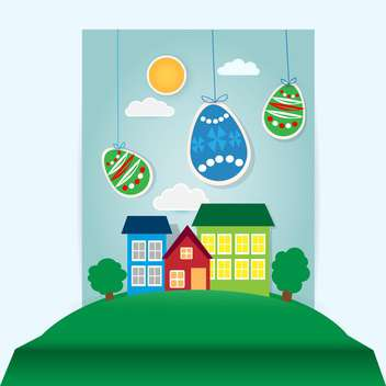 Vector Easter scene with paper eggs and houses - vector gratuit #129455