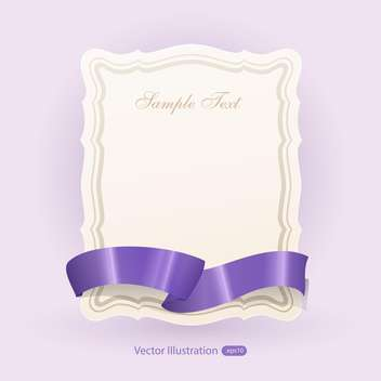 Vector banner with purple ribbon - vector gratuit #129465
