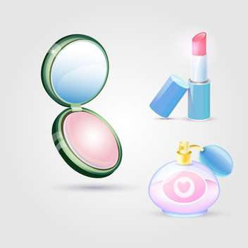 Vector illustration of make-up cosmetics on gray background - vector gratuit #129485