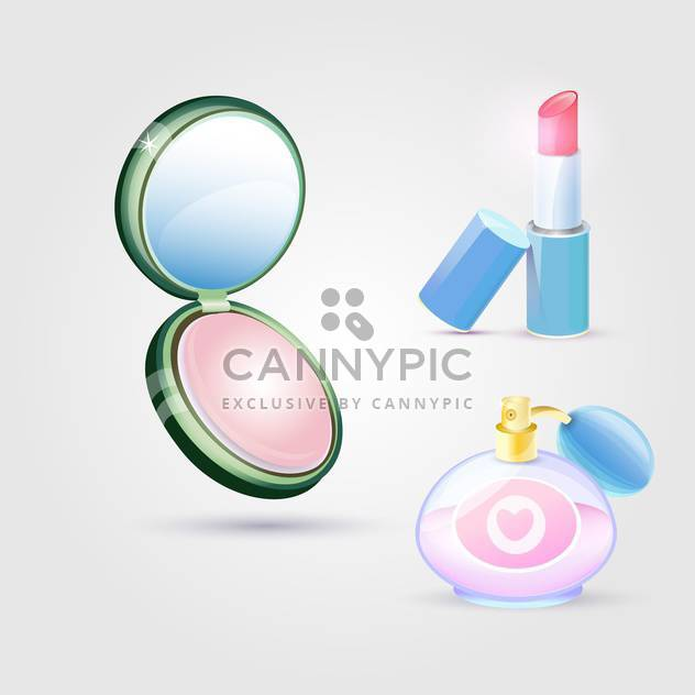 Vector illustration of make-up cosmetics on gray background - Free vector #129485