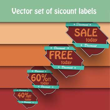 Vector set of vintage shopping sale labels on background with orange stripes - vector #129565 gratis
