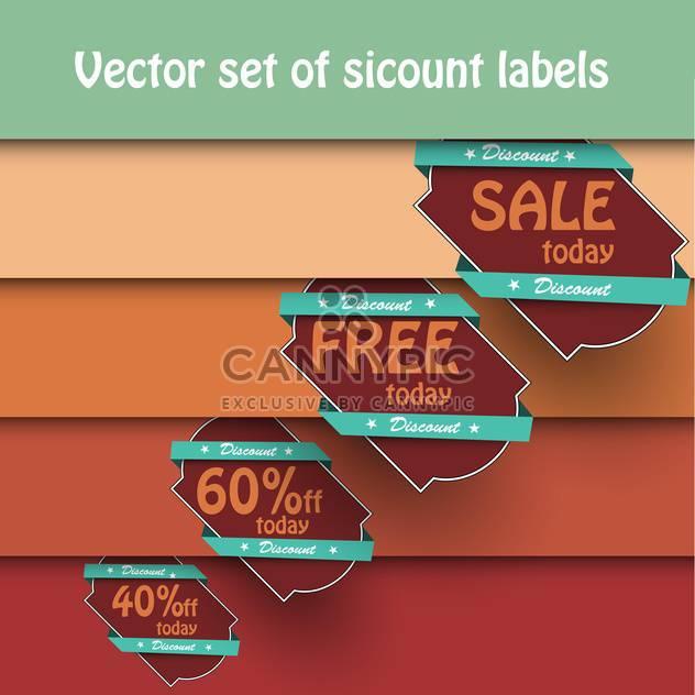 Vektor festgelegt Jahrgang Einkaufen Verkauf Etiketten auf Hintergrund mit Orangen Streifen - Kostenloses vector #129565