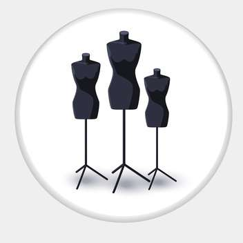 Vector illustration of black tailor mannequins in circle frame - Free vector #129575