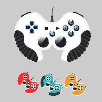 Vector set of colorful gamepads on gray background - Free vector #129625