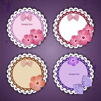 vector set of floral frames with lace on purple background - vector gratuit #129645