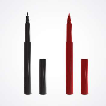 Vector illustration of black and red felt-tip pens on white background - vector gratuit #129655