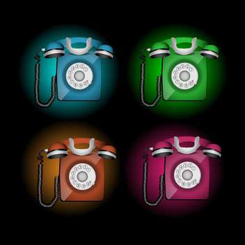 Vector set of colorful telephones on black background - бесплатный vector #129715