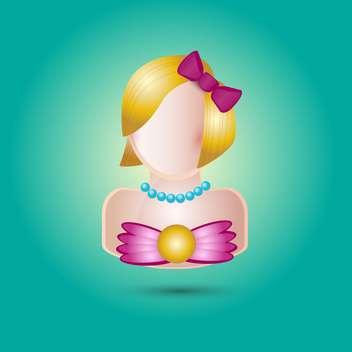 Vector female avatar icon on green background - Free vector #129745