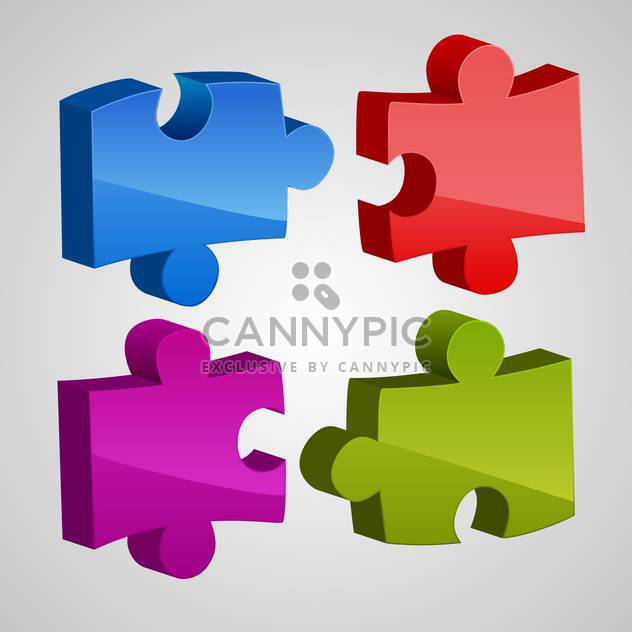 Vector set of colorful puzzles on gray background - Free vector #129765