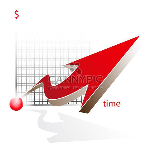 Modern 3d vector business graph with red big arrow isolated on white background - Free vector #129805