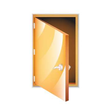 Vector illustration of yellow opened door isolated on white background - Free vector #129815