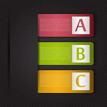 Vector infographic banners with A B C letters options on black background - бесплатный vector #129875