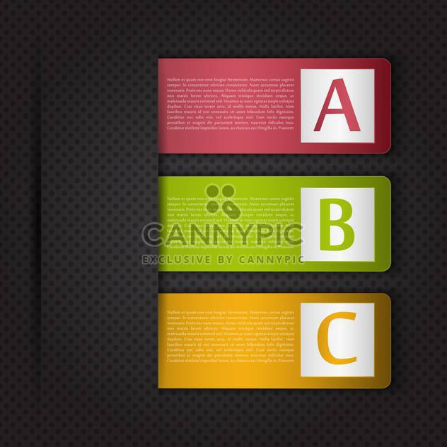 Vektor Infographik Banner mit A B C Buchstaben auf schwarzem Hintergrund - Kostenloses vector #129875
