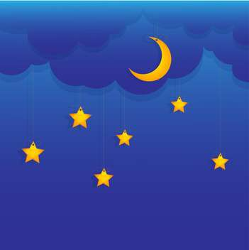 Vector background with stars and moon hung on blue sky - vector #129895 gratis