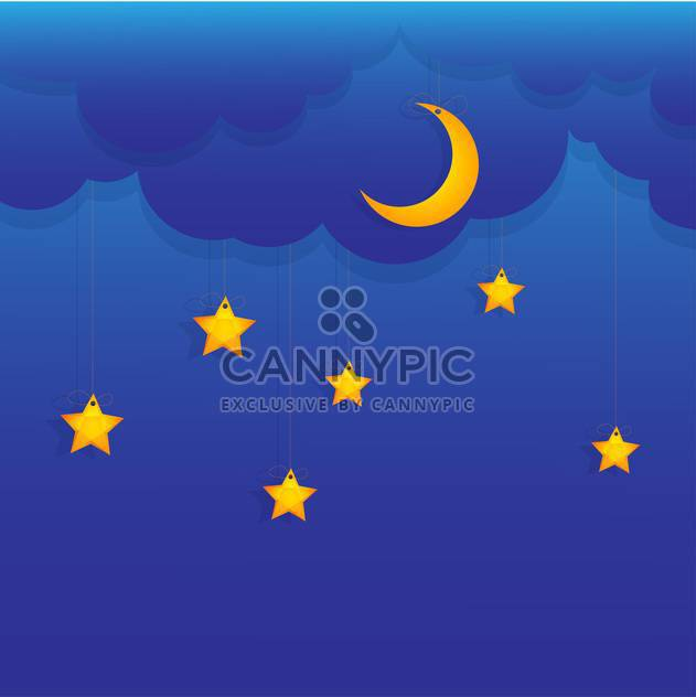 Vector background with stars and moon hung on blue sky - Free vector #129895