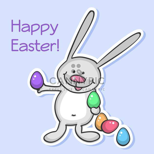 Vector illustration of Easter bunny with colorful eggs on purple background - Free vector #129905
