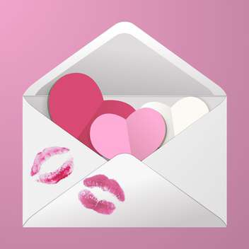 Open envelope with hearts and lipstick kisses on pink background - Free vector #129965