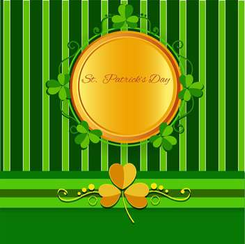 St Patricks day background with round frame and clover leaves - vector gratuit #130065