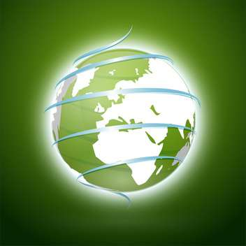 Vector illustration of green earth with blue ribbon - Free vector #130075