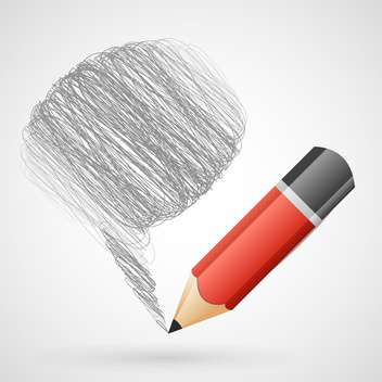 Vector illustration of speech bubble with pencil - vector gratuit #130085