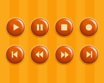 Vector set of orange media buttons - vector gratuit #130095