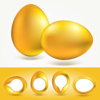Vector yellow Easter eggs on white background - vector gratuit(e) #130115