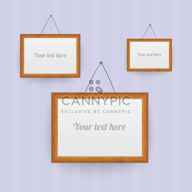 Vector set of wooden frames on the wall - Free vector #130155