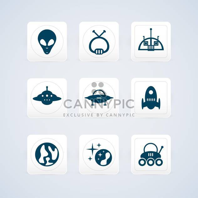 Space and Ufo vector icons set - Free vector #130185