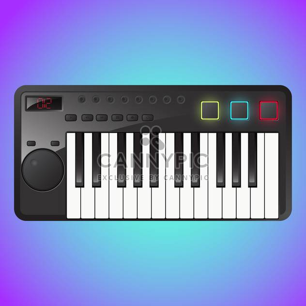 Vector illustration of synthesizer on blue and purple background - Free vector #130215
