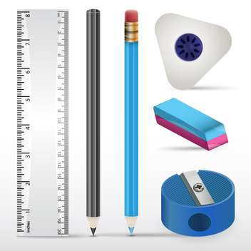 Vector illustration of erasers, pencils, ruler and sharpener on white paper - бесплатный vector #130235