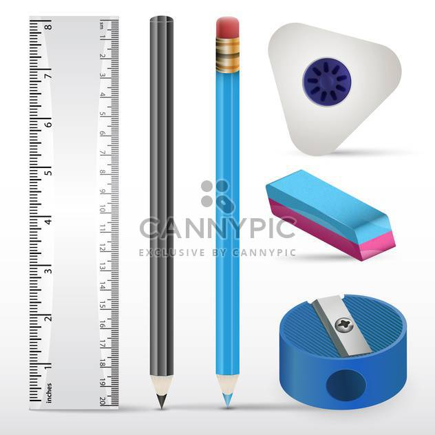 Vector illustration of erasers, pencils, ruler and sharpener on white paper - Free vector #130235