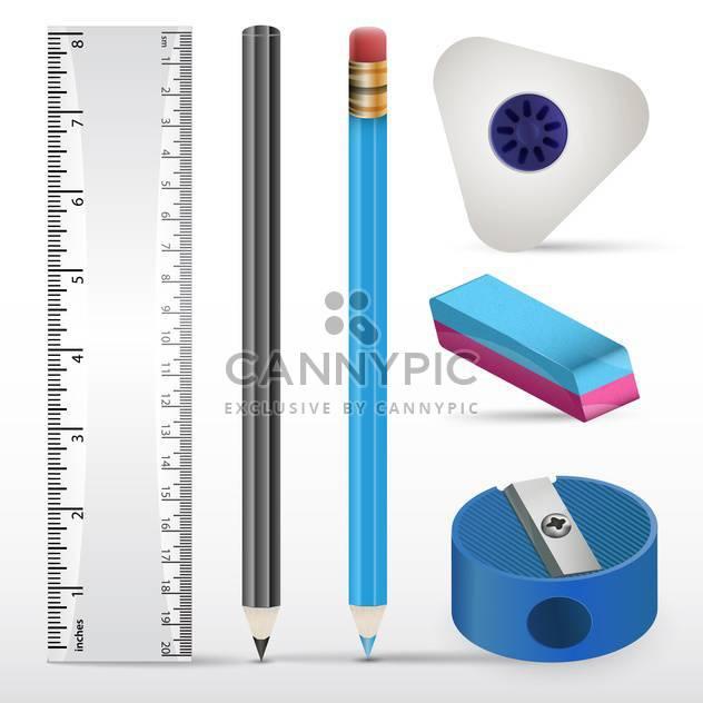 Vektor-Illustration des Radiergummis, Bleistifte, Lineal und Anspitzer auf weißem Papier - Kostenloses vector #130235