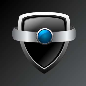Vector metal shield on black background - vector #130425 gratis