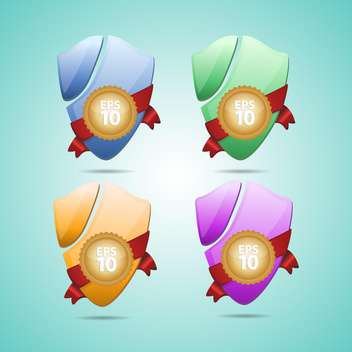 Set with multicolored vector shields with shadows - Free vector #130465
