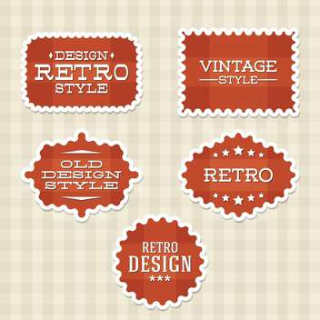 Vector vintage retro red labels on checkered background - Free vector #130535
