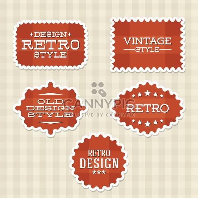Vektor Vintage retro rot Etiketten auf karierten Hintergrund - Kostenloses vector #130535