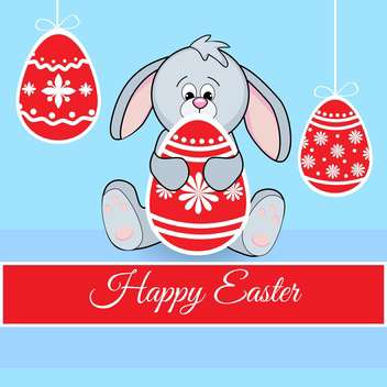 happy easter Greeting Card with cute rabbit and eggs - Free vector #130575
