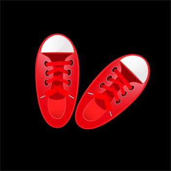 vector illustration of red sneakers on black background - vector gratuit #130625