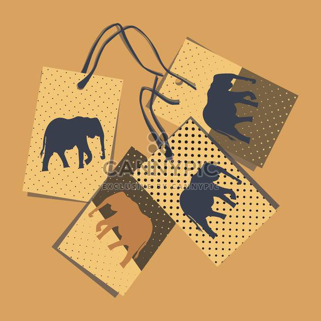 vector cards with elephant on brown background - Free vector #130715