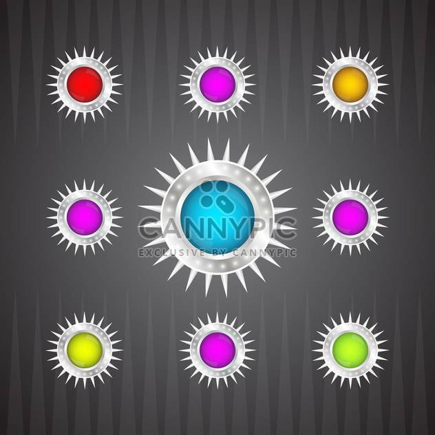 vector collection of colorful glossy round buttons on dark background - Free vector #130745